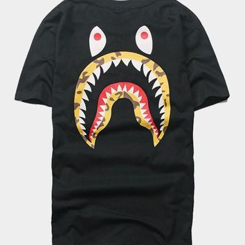 cc spbest A Bathing Ape x Stussy Black Shark T-Shirt