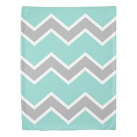 Aqua Blue Gray Grey Chevron Print Pattern Girl Duvet Cover