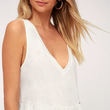 Kinsey White V-Neck Ruffled Crop Top