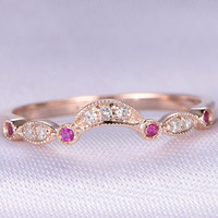 Art Deco Ruby Diamond Wedding ring,Half Eternity Band,14k Rose gold,Anniversary Ring,Curved Rubies available