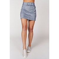 Not So Clueless Belted Suede Skirt (Stone Wash)