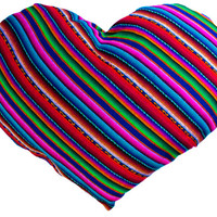 PERUVIAN fabric Heart Shape Cushion, natural woven fabric, throw pillow, decorative covers, boho throw sham pillow