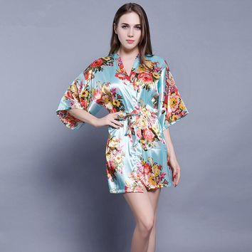 Floral Robe Silk Nightgown