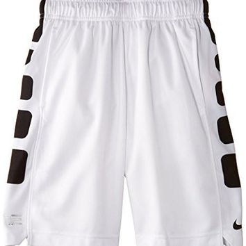 "Nike Boys Elite Stripe Big Kids 10"" Basketball Shorts, Med, White, 546649 019"