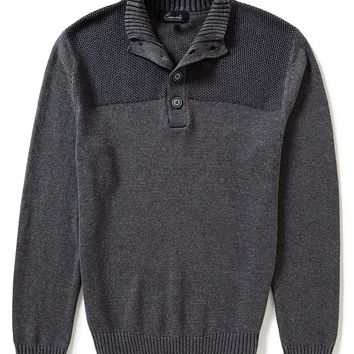 Roundtree & Yorke Casuals Button Mock Plaited Pullover | Dillards