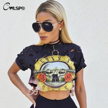 Guns and roses Cropped Top