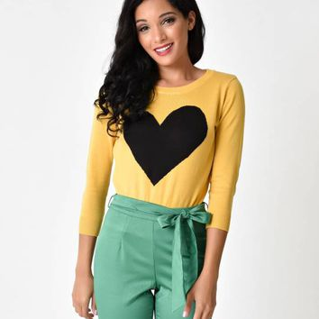 Honey Yellow & Black Long Sleeve Heart Knit Sweater Top