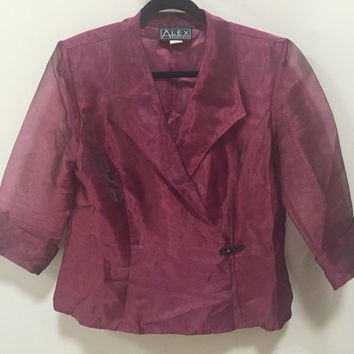 Purple Formal Blazer, Evening Wear, Maroon Organza Blouse, Sheer Cropped Sleeves Black Rhinestone Clasp, V Neck Purple Blouse, Alex Evenings