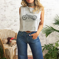 Vintage HARLEY DAVIDSON Biker Crop Top || Size Small to Medium