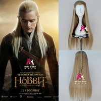 The Hobbit The Battle of the Five Armies Legolas Long Straight Men Wig with Braid Ash Blonde Movie Cosplay Wig