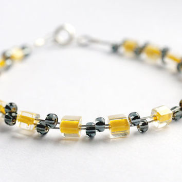 Yellow bracelet, Grey bracelet, wire bracelet, uk jewellery