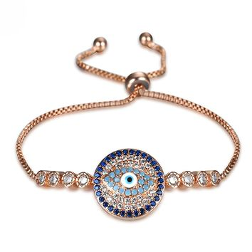 Adjustable Love Heart cuff Bracelet Cubic Zircon Pull Slider Hamsa Hand of Fatima Evil Eye Chain Bracelet