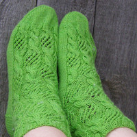 Beautiful bright-green lace wool socks,House socks,Bed socks