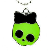 Monster Green Skeleton Girl Necklace with Bow