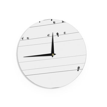 "Qing Ji ""Birds on Wire"" Black White Wall Clock"
