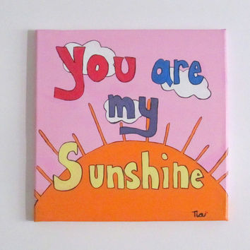 Nursery Wall Art Little Girls Room Decor Canvas Art 8x10 You Are My Sunshine