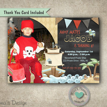 Pirate Invitation - Pirate Party - Pirate Birthday Invitation - Boy Photo Invitation
