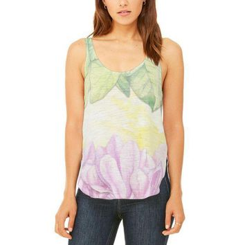 PEAPGQ9 Mardi Gras French Quarter Magnolias at Sunrise Juniors Flowy Side Slit Tank Top