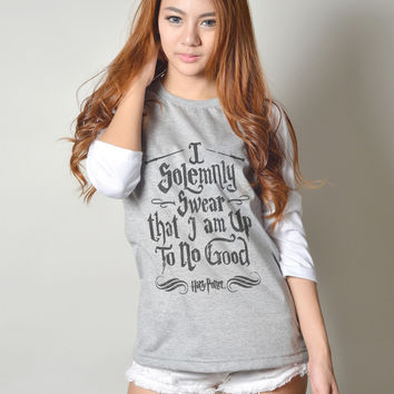 I Solemnly Swear that I am Up to No Good Harry Potter Quote Shirt Baseball Tee