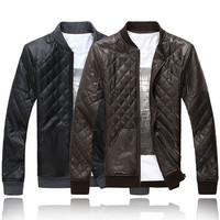 Mens Quilted Faux Leather Jacket