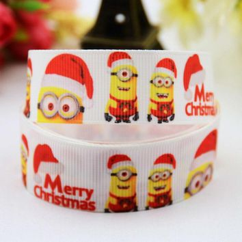 "7/8"" 22mm Minions Cartoon Printed grosgrain ribbon party decoration satin ribbons Hairbow sewing supplies OEM 10 Yards X-00553"