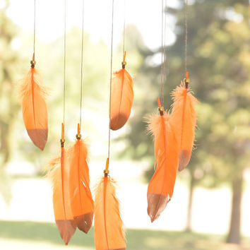 Orange Dreamcatcher Mobile,  Nursery Decor, Boho Bohemian Baby Nursery, Baby Boy Girl  Nursery, Feathers Home Decor.