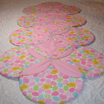 Easter Quilt Runner Table Topper Centerpiece - Chicks, Easter Eggs - Pink, Yellow