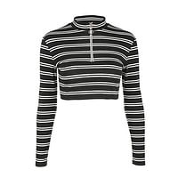 Black And White Knitted Mock Turtleneck