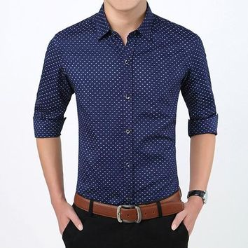 Men's Polka Dot Slim Fit Button Up