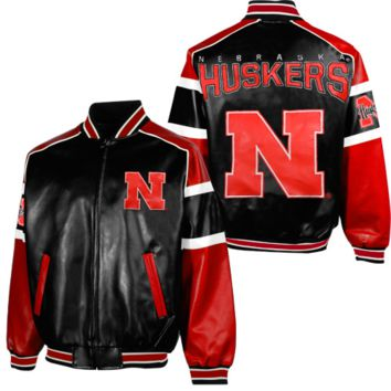 Nebraska Cornhuskers Post Game Pleather Jacket - Black/Scarlet