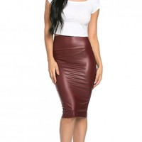 High Waisted Faux Leather Pencil Skirt in Burgundy (Plus Sizes Available)