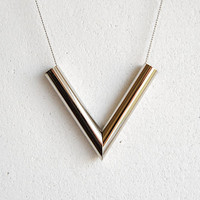 Silver V Necklace - Handmade Jewelry - Free Shipping in the US