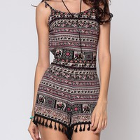 Casual Bohemian Tribal Printed Tassel Captivating Backless Rompers