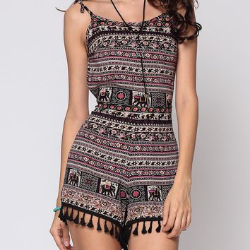 Streetstyle  Casual Bohemian Tribal Printed Tassel Captivating Backless Rompers
