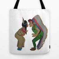 Peter Pan and Tiger Lily Tote Bag by Sierra Christy Art