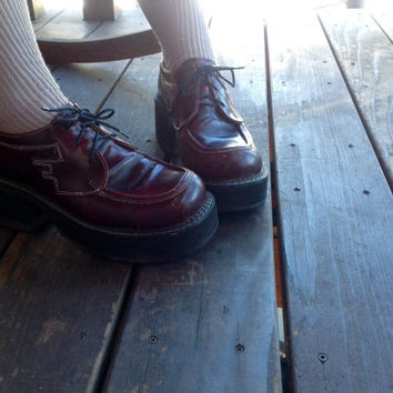 Burgundy 90s chunky John Fluevog shoes