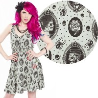 Sourpuss Zombie Cameo Dress | Gothic Vintage Inspired