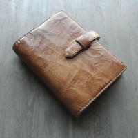 handstitched leather binder, vegetable tanned, natural leather planner, refillable journal, leather organizer, for filofax refills, robust