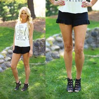 Right To Ruffle Shorts in Jet Black