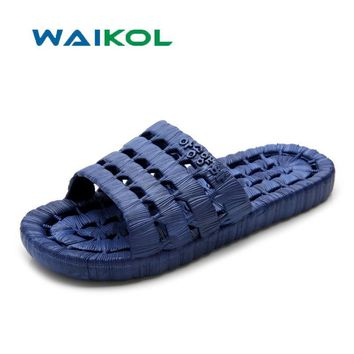 Waikol Beach Sandals Slippers Summer Outdoor Flats Non-slip Bathroom Home Leakage Water Slippers Men Casual Flip Flop Shoes