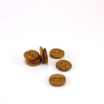 Wood buttons - Applewood - 0.8in (20mm) - Set of 8 natural wooden buttons - Handmade craft supplie (A2638)