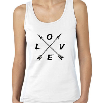 Love and Arrows, Native American Inspired Ladies Tank Top