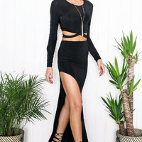 Crop Top and Slit Maxi Skirt Two Piece  B0013523