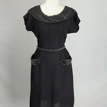 Vintage 1940s Black Evening Dress Glamorous Lurex Trim and Pockets WWII