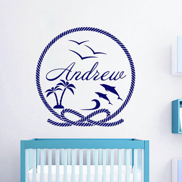 Wall Decals Personalized Name Decal Dolphins Palm Tree Seagull Vinyl Sticker Boy Baby Children Nautical Nursery Bedroom Decor Art Murals US1