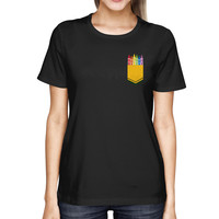 Color Crayon Pocket Print Women's Shirt Cool Gifts For Teachers