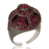 Victorian Estate Style Pave Set Natural Ruby Gemstone Silver Dome Ring