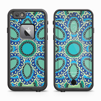 Green and Aqua Flower Petal Skin for the Apple iPhone LifeProof Fre Case