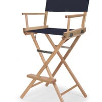 Varnish Heritage Director Chair - Bar Height - Navy Cover