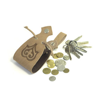 Medieval belt purse in leather for LARP, leather coin wallet